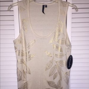 NEW Beige and gold palm leaf tank top (size large)